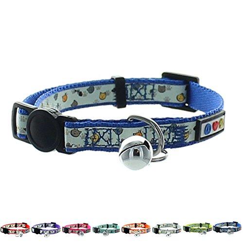 Pawtitas Glow in The Dark Cat Collar Safety Buckle Removable Bell Cat Collar Kitten Collar Blue Cat Collar