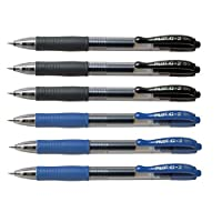 Pilot G2 pens retractable Gel Roller ballpoint 07 Fine pt Black & Blue Bundle (6)