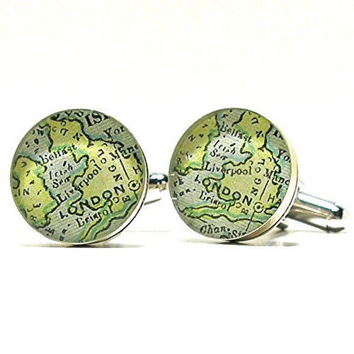 Antique London England Map Sterling Silver Cufflinks