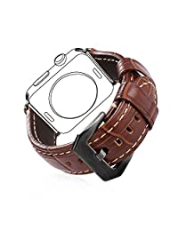 Bandmax Leather Band for Apple Watch Series 2/1 Brown Genuine Leather Watch Strap Replacement for Apple Watch 42MM with Black Gun Plated Clasp Buckle