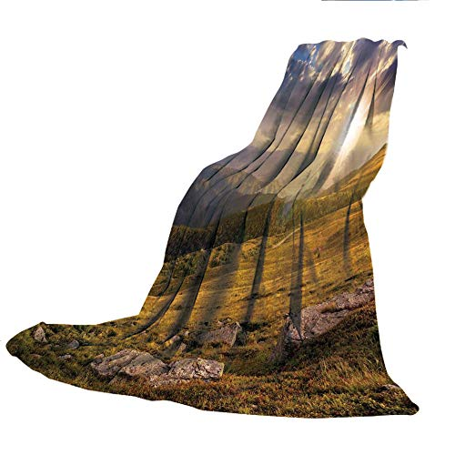 SCOCICI Creative Flannel Printed Blanket for Warm Bedroom,Nature,Mountain Hills Landscape with Bright Sun Lights on Meadow Misty Rural Panorama,Blue Amber Dust,47.25
