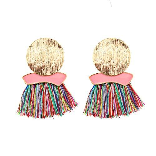 Diamond Big Earrings (A Pair Fashionable Tassels Big Earrings Geometric Irregular Round Jewelry (Multicolor))