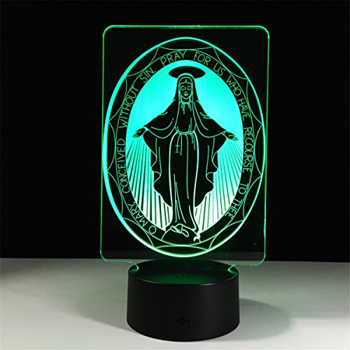 - Maria 3D LED Night Lamp visualization Illusion 7 Color Change Touch Button Switch USB Powered Amazing Art Optical Unique Lighting Effects Desk Table Night Light for Bedroom Home Decor