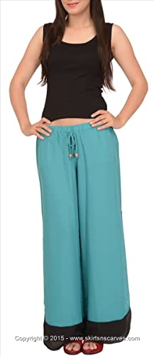 Faldas y bufandas de las mujeres Moss Crepe Pijama/pantalones/pantalones con abertura lateral.