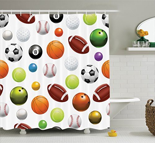 Ambesonne Sports Decor Collection, Different Type of Balls Various Sports Professional Hobbies Leisure Fun Image, Polyester Fabric Bathroom Shower Curtain Set with Hooks, Orange Black Green
