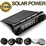 Aftermarket Tire Pressure Monitoring System TPMS Solar Power Universal Wireless with 4 External Sensors Real-time Display 4 Tires' Pressure & Temperature 22-87 PSI [2 More Battery] Pressure Gauge Auto