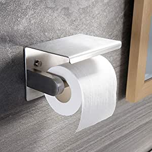 Toilet Paper Holder - Bathroom Toilet Paper Holder with Shelf Wall Mounted Tissue Roll Holder Stainless Steel Brushed by YIGII