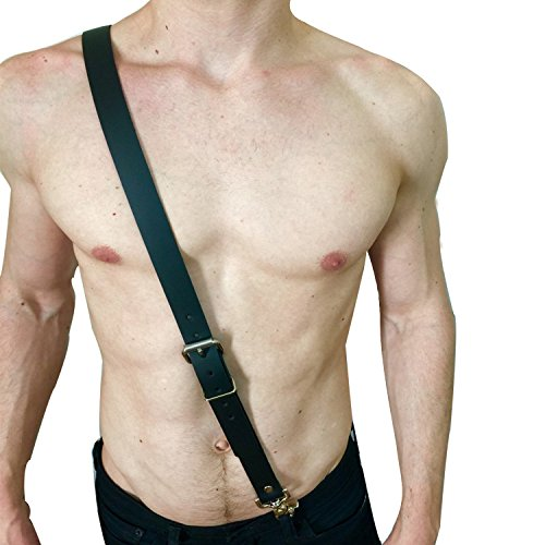 Mens Adjustable Leather Body Chest Half Harness Belt High Elastic(017,black17)