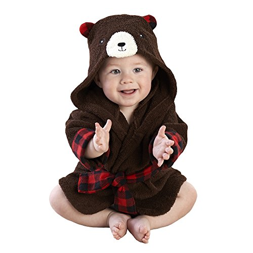 Baby Aspen Beary Bundled Hooded Robe, Brown and Red