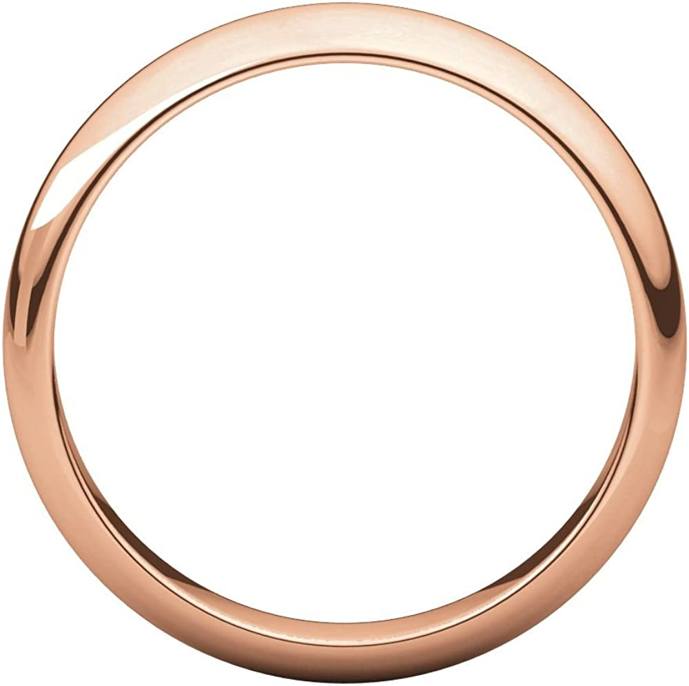 Jewels By Lux 10K Rose Gold 4mm Half Round Wedding Ring Band