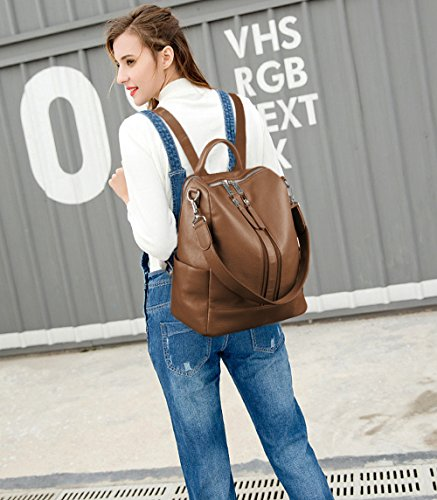 Versatile Backpack Genuine Front Convertible Zipper Brown Double Yaluxe Shoulder Leather Women's Bag xAqwIU8