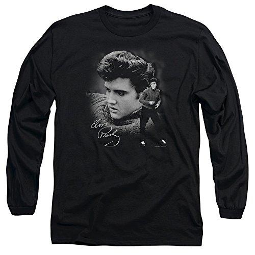 Elvis Presley The King Rock Sweater Adult Long Sleeve T-Shirt Tee Black -