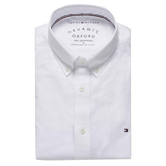 074c5652 Tommy Hilfiger Slim Organic Oxford Shirt: Amazon.co.uk: Clothing