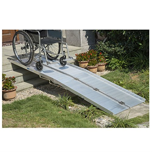 8' Folding Portable Suitcase Mobility Wheelchair Threshold Ramp Aluminum from Unknown