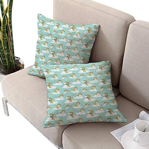 Angel Square Chaise Lounge Cushion Cover,Angels Playing Harp in Sky Clouds Myth Folk Lyre Folk Music Band Joy Seafoam White Earth Yellow W14 xL14 2pcs Cushion Cases Pillowcases for Sofa Bedroom Car (Lounge Chaise Houston)