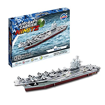 26.7'' Long Nimitz Aircraft Carrier Toy 3D Assembly Puzzles 65 Pcs Paper Stacking Stock Model Toy Vehicle Playset Educational Intelligent Learning Toy for Children Kids Over 3 Yrs