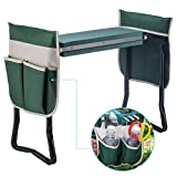 Ideal Choice Product Deep Seat Garden Kneeler and Seat-Folding Garden Kneeler with 2 Ex-Large Tool Pouches-Gardener Foldable Bench Stool with Kneeling Pad Cushion-Gardening Bench