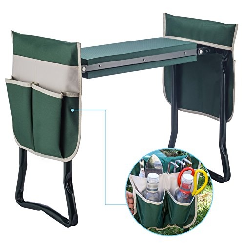 Fitnessclub Deep Seat Garden Kneeler and Seat-Folding Garden Kneeler with 2 Ex-Large Tool Pouches-Gardener Foldable Bench Stool with Kneeling Pad Cushion-Gardening Bench (Kneeler Garden Stool)