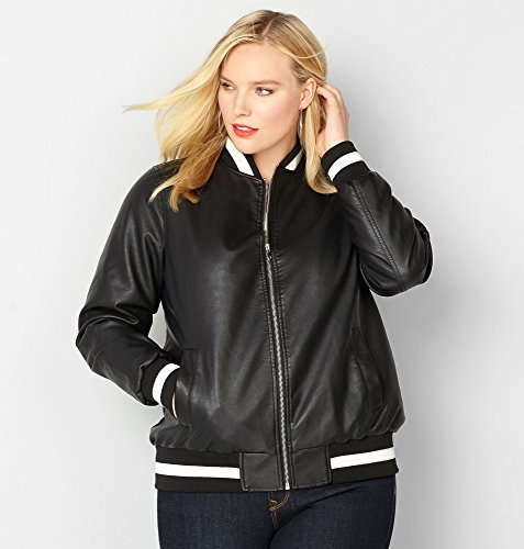 AVENUE-Womens-Stripe-Pleather-Bomber-Jacket