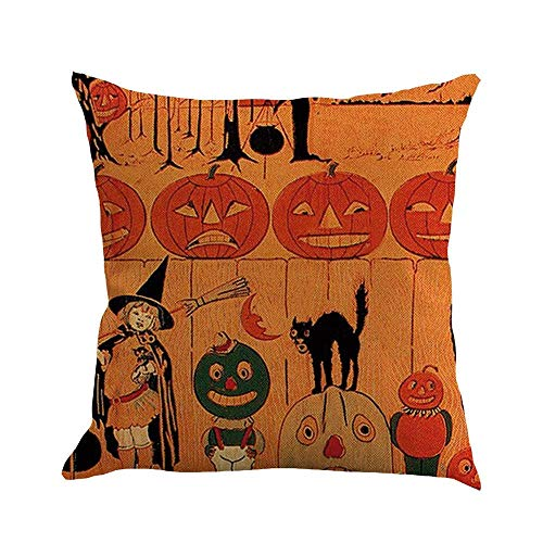 LUCIME Biekxrso Pillow Case Halloween Pillow Cases Linen Words Letters On Pumpkin Throw Pillows Cushion Covers Cotton Linen Pillowcase Protector Decoration Sofa Home Decor 18X18 Inch(45X45cm) -