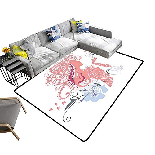 (Super Cozy Bathroom Rug Carpet Sexy Lady and Flowers Muse Fashi Glamour Image Light Pink Blue Provides Protection and Cushion for Floors 6' X 9')