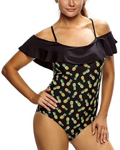 Minetom Lotus Leaf Womens One Piece Sling Swimsuit Sport Swimming Costume Sexy Comfortable Printed Summer Swimwear Monokini Black US