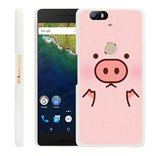 Huawei Google Nexus 6P Case,Gifun Nexus 6P White Hard Back Case with Pink Pig for Nexus 6P 2016