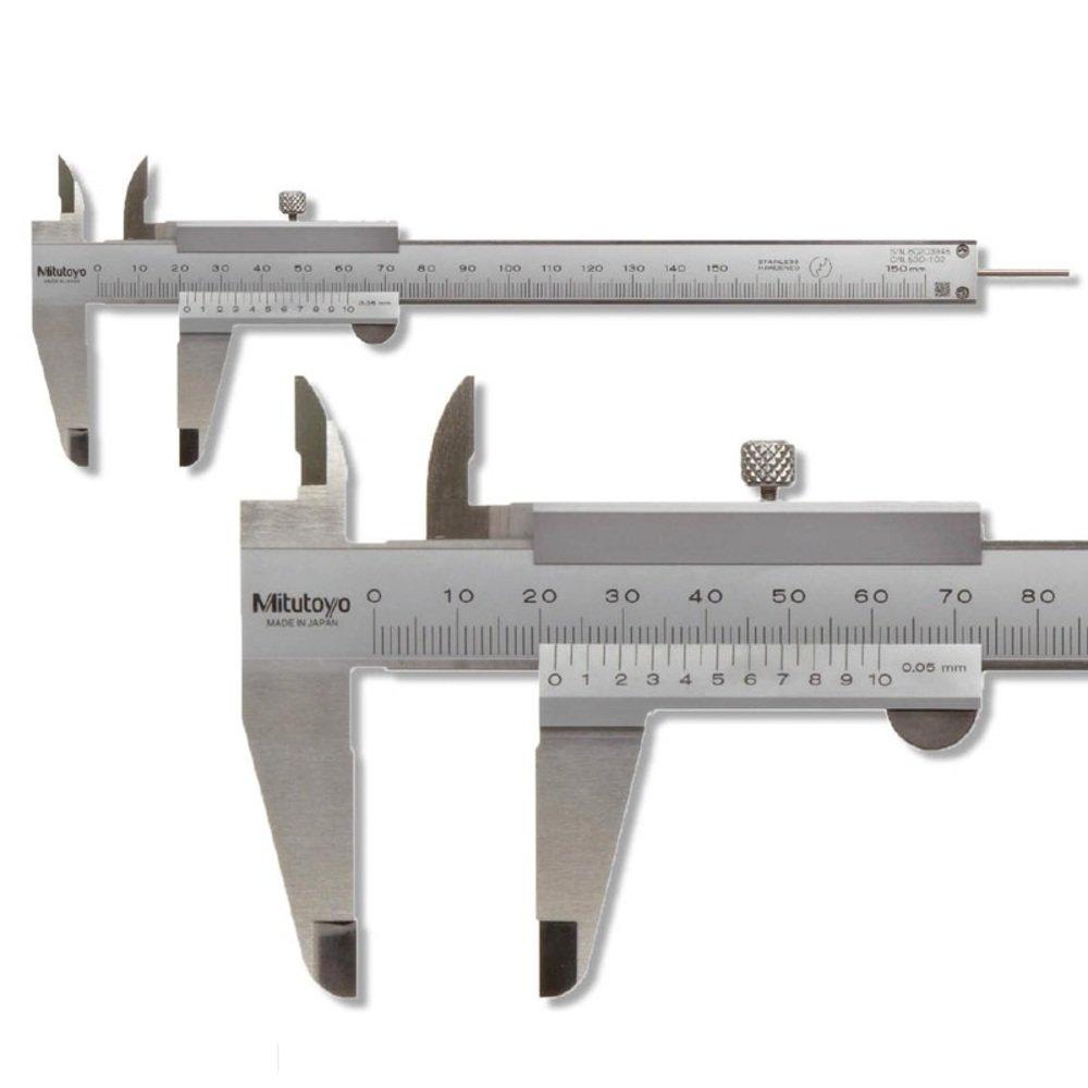 Mitutoyo Taschen Messschieber 150 mm Serie 530, Ablesung: 0,05 mm mit Feststellschraube 530-101 Tiefenmaß : flach, Gewicht: 0.14 Prüfmittel24