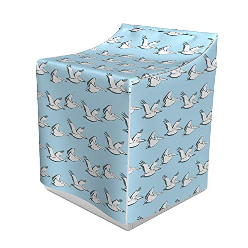 Lunarable Pelican Washer Cover, Coastal Pattern with Flying Pelicans Waterfowl on Pale Blue Shade, Easy to Use Bathroom Accent Fabric, 29