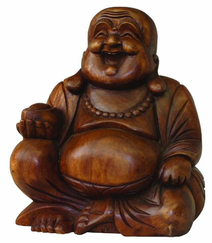 Cohasset Gifts Carving Chinese Jolly Buddha Statue, Hand Brown Mahogany Finish ()