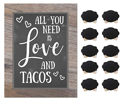 - Taco Bar Party Rustic Chalkboard Sign Wedding Shower Buffet Supplies with 10 Small Mini Chalkboards Accessories