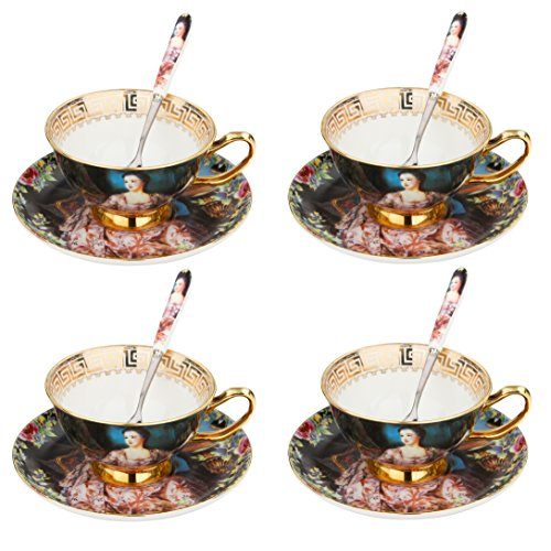ARTVIGOR Queen Oil Painting Coffee Serving Set, New Bone China Gold Rimmed Cup & Saucer Sets with Spoon for ()