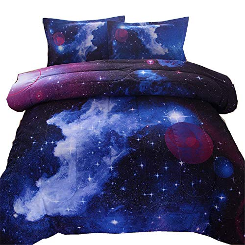 Meeting Story Galaxy Quilts Bedding Sets Bedspread Comforter Set (A, Full)