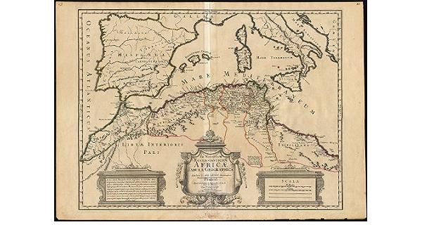 Mapa antiguo-Norte africa-mediterranean-morocco-libya-italy-spain LIsle-1700 - de: Amazon.es: Hogar