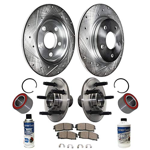 Detroit Axle - Rear Wheel Hub Bearing Assembly, Drilled and Slotted Disc Brake Rotors w/Ceramic Pads w/Hardware & Brake Cleaner for 2002 2003 2004 2005 Ford Explorer 4door - Mercury Mountaineer]