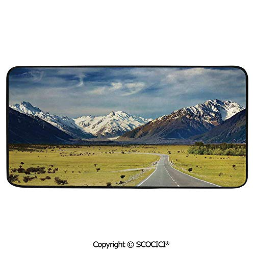 Rectangular Area Rug Super Soft Living Room Bedroom Carpet Rectangle Mat, Black Edging, Washable,Apartment Decor,Landscape with Road and Snow Capped -