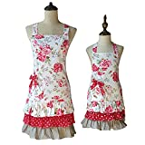 G2PLUS Lovely Classic Style Red Floral Pattern Three Ruffles Mama-Kid Girl Apron Cooking or Baking Apron with Pocket Great Gift For Wife Ladies and 2-5 yrs Old Kid Girl Daughters (Mama and Me Aprons)