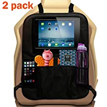 Set of 2 Backseat Toy Organizers by Ozziko. Kids Kick Mat Protectors for Car Back Seat and Baby Boosters With 13'' Tablet Holder & Storage Pockets for Bottles & Snacks