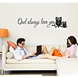 "ufengke® ""Owl Always Love You"" Cute Owl Wall Decals, Children's Room Nursery Removable Wall Stickers Murals"