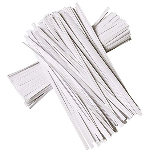 APUXON Paper Twist Ties Bread Ties for Party Cello Candy Bags Cake Pops - 200 PCS 5-inch - White