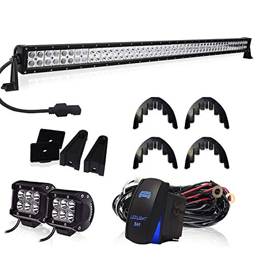 "TURBOSII 288W 50 inch LED Light Bar Flood Spot Combo + 4"" Led Work Light + DT Connector Wiring Kit For Off-Road Jeep Wrangler JK TJ Truck ATV 4X4 SxS Hummer Chevy Silverado Ford Toyota Nissan Pickup"