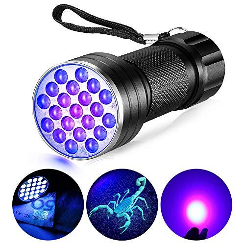 NusGear Linterna UV Led Portátil 21 LED Lámpara Detector de Luz Resisitente de Agua para Mostrar Animales Pequeños, Orina de Mascotas, Manchas de Pis