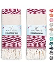 RUMI & SHAMS Turkish Hand Towel for Bathroom and Kitchen – 2 Pcs Luxurious Decorative Hand Towels for Bathroom – 100% Cotton Farmhouse Kitchen Towels – 16 x 35 Inches Kitchen Hand Towels
