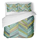 Emvency 3 Piece Duvet Cover Set Breathable Brushed Microfiber Fabric Colorful Arrow Wood Parquet Chevron Various Ash Beechwood Cyan Floor Flooring Game Bedding with 2 Pillow Covers Full/Queen Size