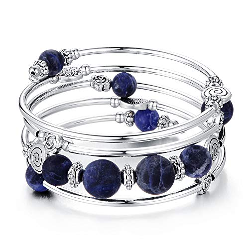 Bead Wrap Bangle Pearl Bracelet - Silver Metal Bracelet Gifts for Women Girls (06-Navy Blue)