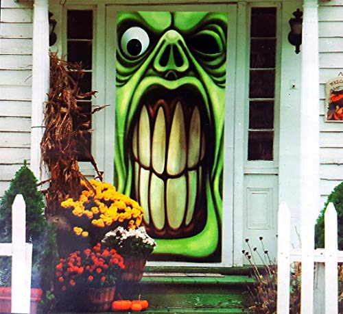 Halloween Haunted House Green Goblin Door Cover by -