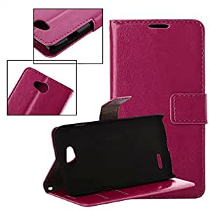 New Brand Magnetic Luxury Leather Litchi texture Wallet Can Put Credit Stand Skin Cover Case for LG L90 Dual Free shipping --- Color:Rose