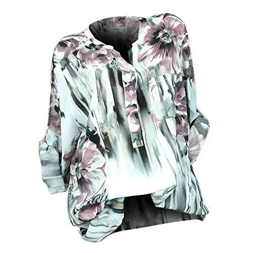 Blanc Cou Manches Bouton Tops 3xl Pour Femmes Chemises Couleur Chemisier Plus Pull Taille Zhrui Bouton À Casual V Orange Taille Imprimer Longues Femmes vqYpBw