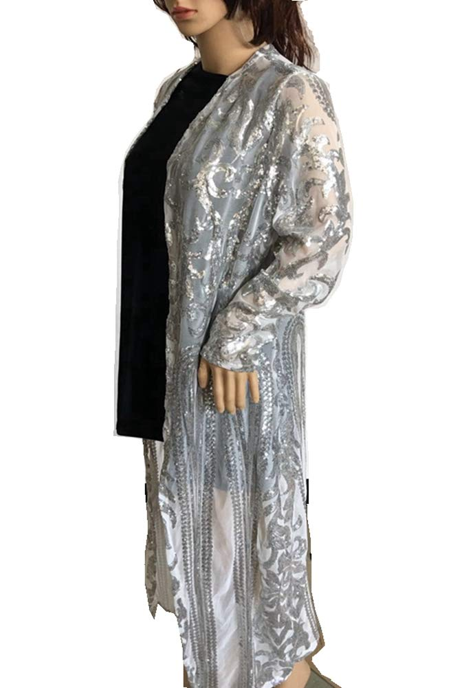 PROMLINK Women Sequin Open Front Club Party Dress Long Sleeve Cardigan Coat