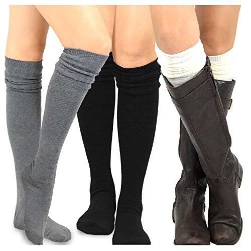 TeeHee Womens Fashion Over the Knee High Socks - 3 Pair Combo (Soft Top)